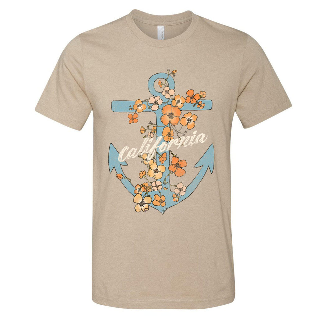 Anchor Poppies Heather Tan Tee-CA LIMITED