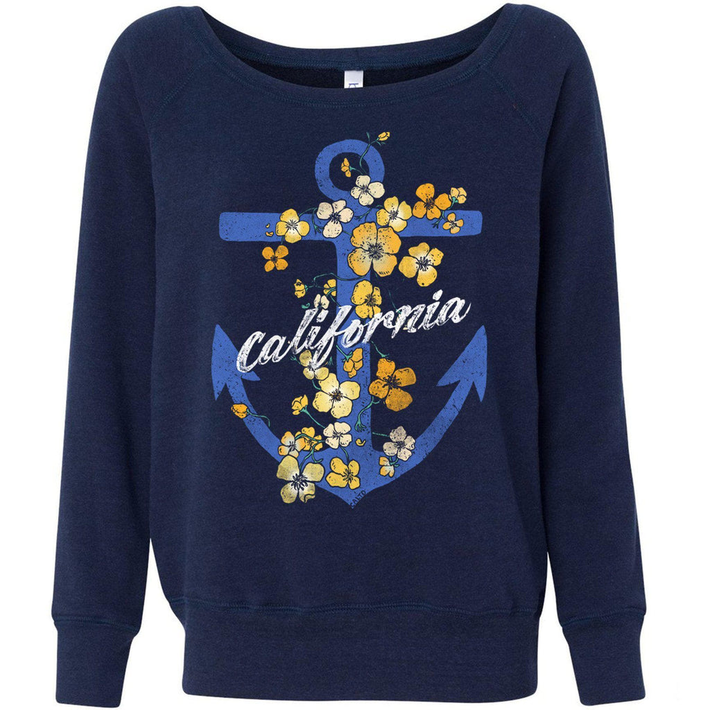 Anchor Poppies Navy Triblend Wide Neck Sweater-CA LIMITED