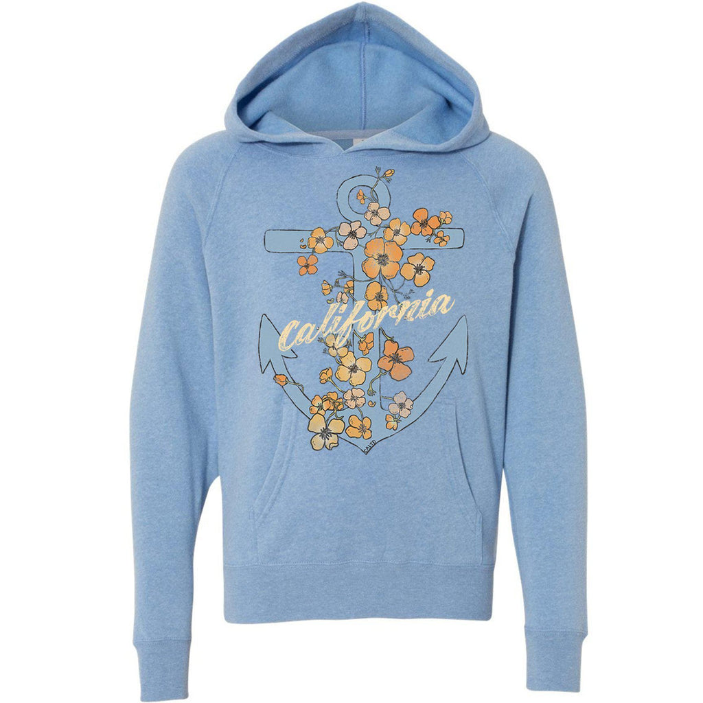 Anchor Poppies Pacific Youth Hoodie-CA LIMITED