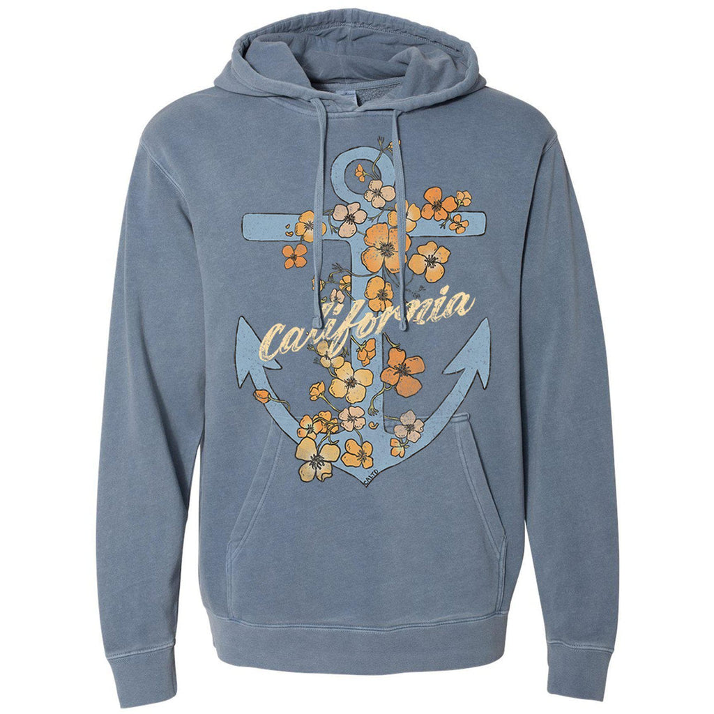 Anchor Poppies Pigment Slate Blue Hoodie-CA LIMITED