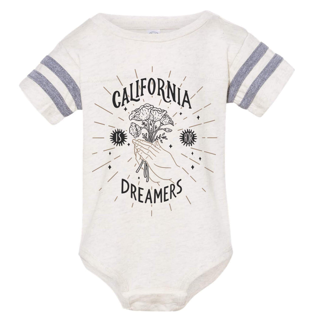 California Dreamers Natural Heather & Granite Heather Stripes Baby Onesie-CA LIMITED