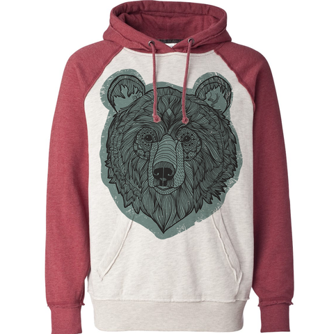 Forest Bear Burgundy Ivory Hoodie