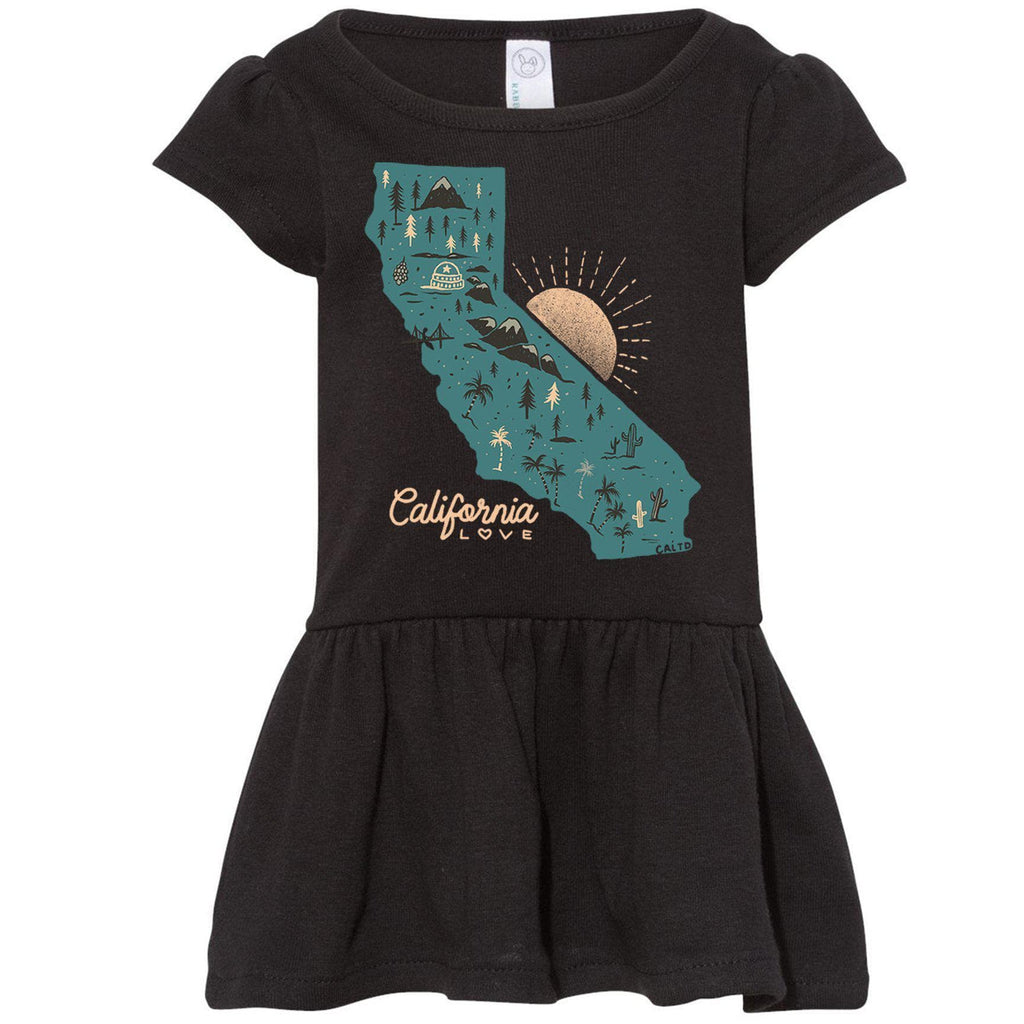 Map CA Love Black Toddlers Dress-CA LIMITED
