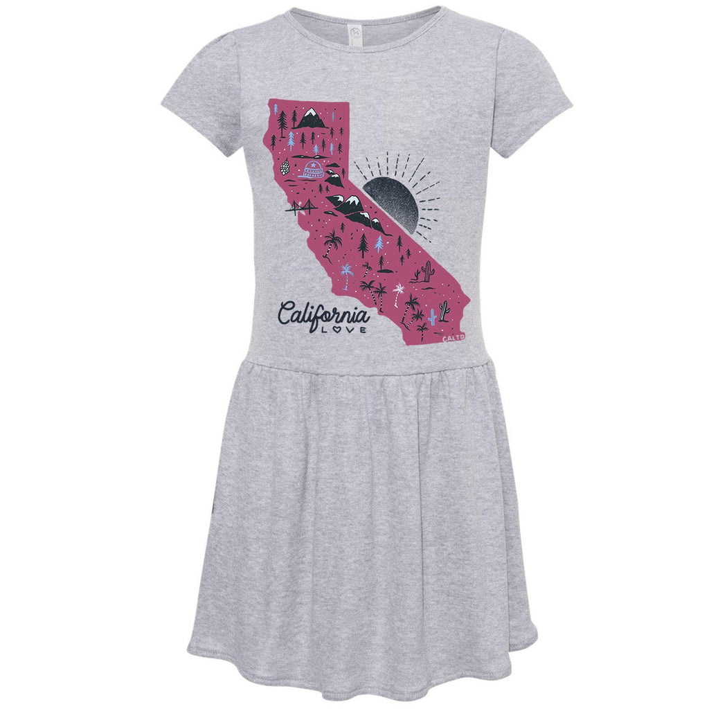 Map CA Love Heather Grey Toddlers Dress-CA LIMITED