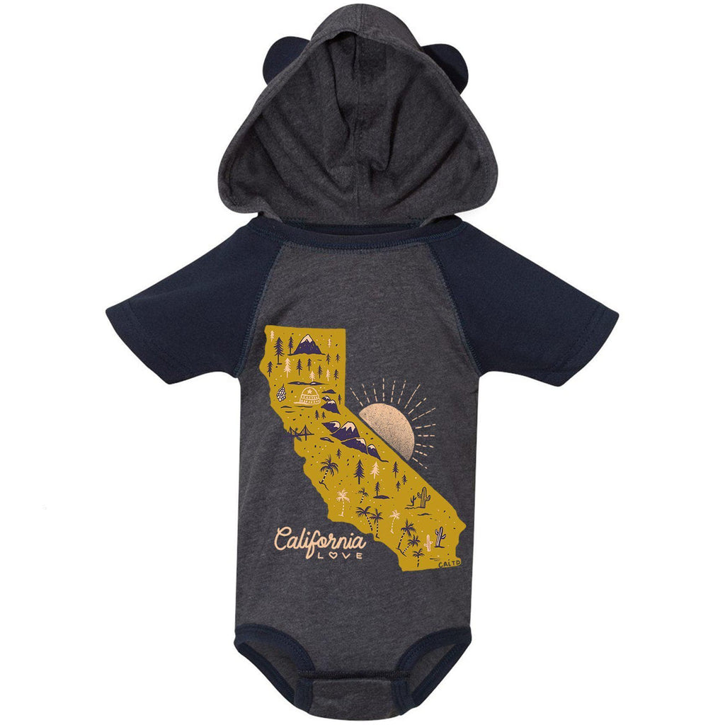 Map CA Love Vintage Navy & Navy Sleeves Hooded Baby Onesie-CA LIMITED