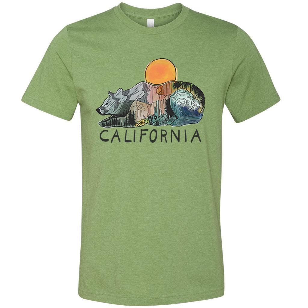 Mountains & Waves Bear Heather Green Unisex Tee-CA LIMITED