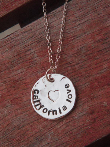 Hammered Silver California Love necklace