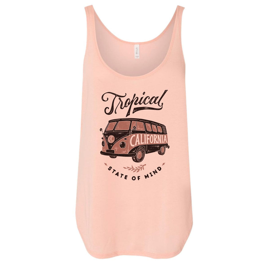 Tropical Bus peach flowy tank-CA LIMITED
