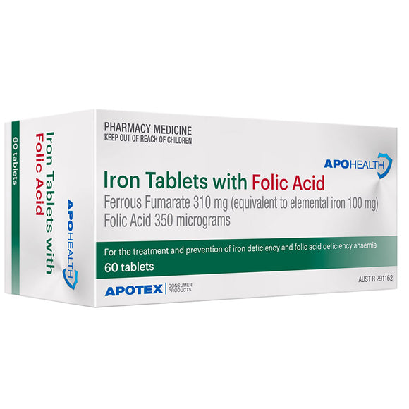Apohealth Iron Tablets with Folic Acid 60 Tablets