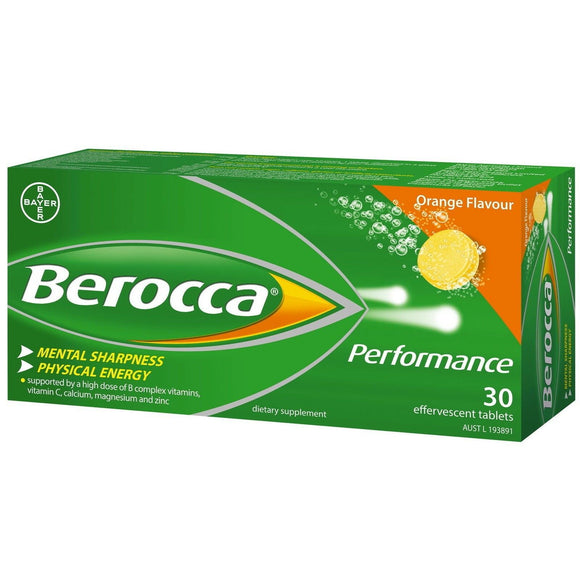 Berocca Performance Orange Flavour 30 Effervescent Tablets