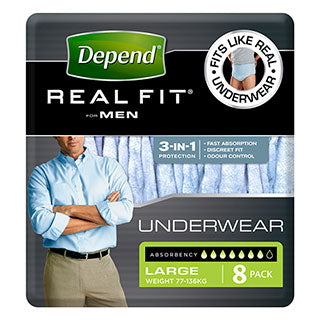 Depend Real Fit Underwear Mens 8 Pack (Large)