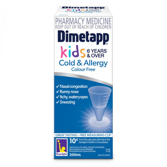 Dimetapp Kids Cold & Allergy 6 Years+ 200mL