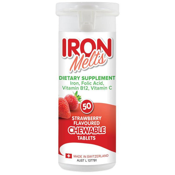 Iron Melts Strawberry Flavoured Chewable Tablets 50