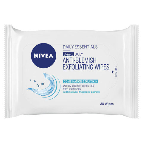 Nivea 3-in-1 Daily Anti-Blemish Exfoliating Wipes 20 Wipes