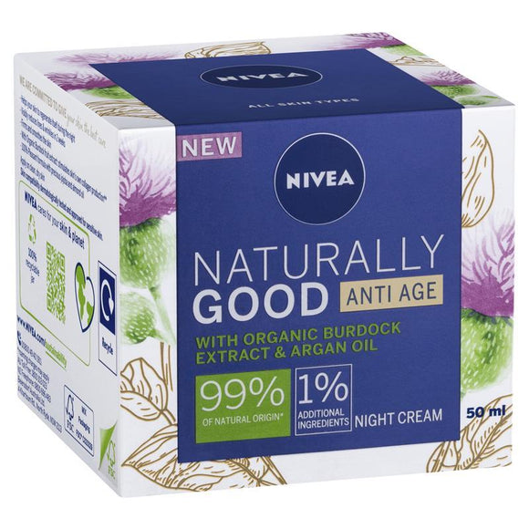 Nivea Naturally Good Anti-Age Organic Burdock Extract & Argan Oil Night Cream 50ml