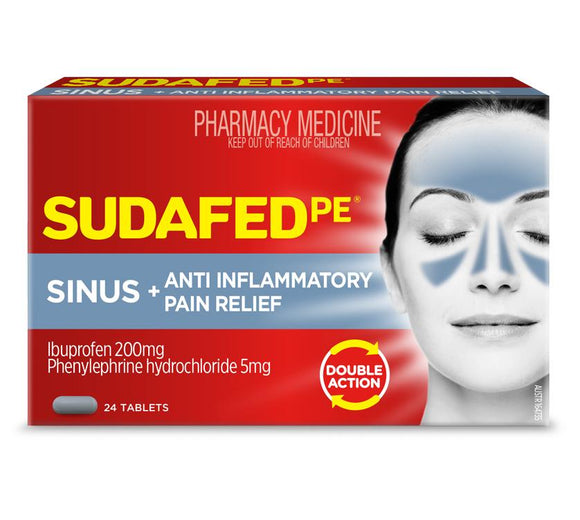 Sudafed PE Sinus + Anti Inflammatory Pain Relief 24 Tablets