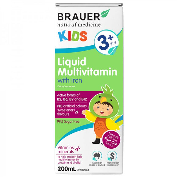 Brauer Kids Liquid Multivitamin & Iron 200mL