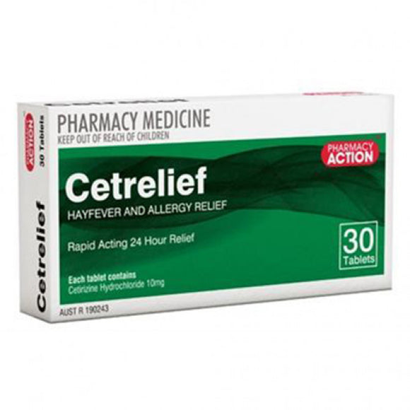 Cetrelief 10mg Cetrizine 30 tablets