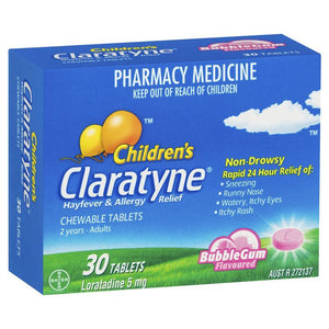 Claratyne Childrens Bubblegum Chewable Hayfever Tablets 30