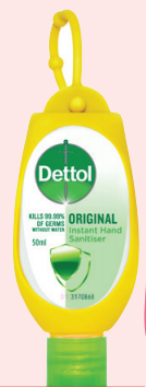 Dettol Instant Hand sanitiser with Clip (Original) 50mL