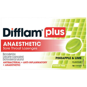 Difflam Plus Sore Throat Lozenges + Anaesthetic Pineapple & Lime 16