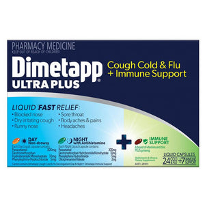 Dimetapp Ultra Plus Cough Cold & Flu + Immune Support 24 Liquid Caps
