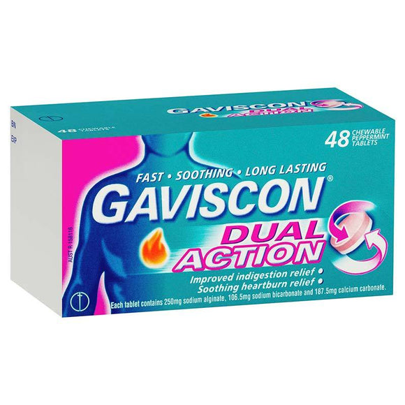 Gaviscon Dual Action Peppermint 48 Chewable Tablets
