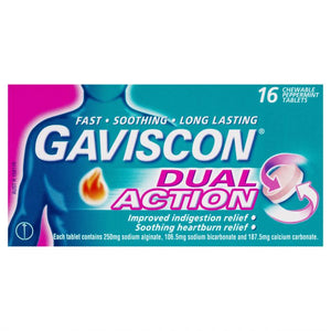 Gaviscon Dual Action Peppemint 16 Chewable Tablets