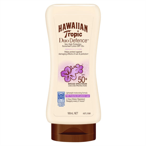 Hawaiian Tropic Duo Defence SPF 50+ Sunscreen Lotion 180mL