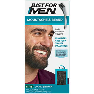 Just for Men Moustache & Beard Brush in Colour Gel (M45 Dark Brown)