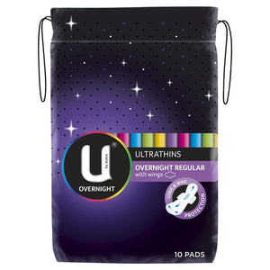 U by Kotex Ultrathins overnight regular with wings 10 pads