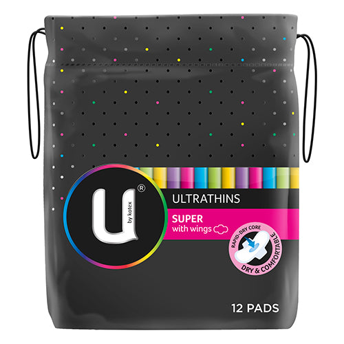 U by Kotex Ultrathins super with wings 12 pads