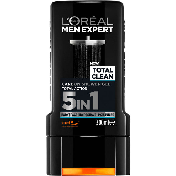 L'Oreal Men Expert Total Clean 5-in-1 Carbon Shower Gel 300mL