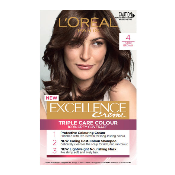 L'Oréal Excellence Creme 4 Dark Brown Hair Colour (100% Grey Coverage)