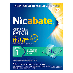 Nicabate Clear Patch 21mg 14 Patches Step 1