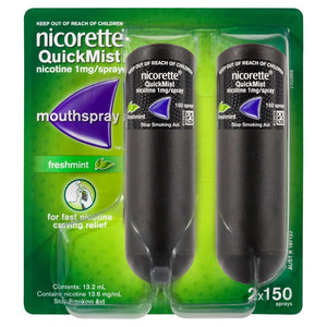 Nicorette QuickMist Mouth Spray 150 Spray Duo Pack [Freshmint]