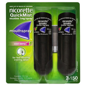Nicorette QuickMist Mouth Spray 150 Spray Duo Pack [Cool Berry]