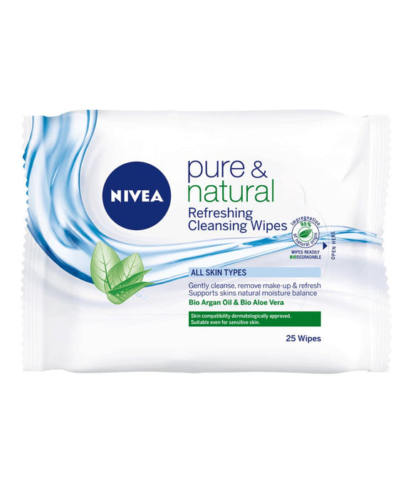 Nivea Pure & Natural Refreshing Cleansing Wipes 25