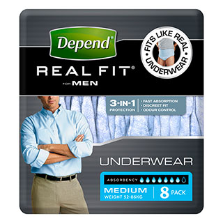 Depend Real Fit Underwear Mens 8 Pack (Medium)