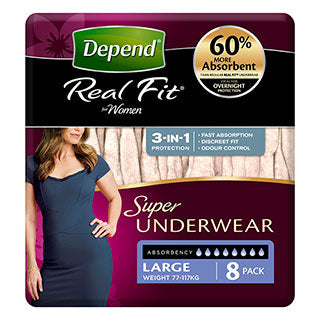 Depend Real Fit Underwear Womens 8 Pack (Large)