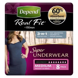 Depend Real Fit Super Underwear Womens 8 Pack (Medium)