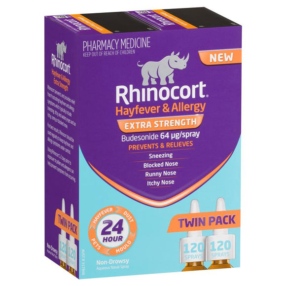Rhinocort Nasal Spray 64mcg 120 Dose Twin Pack