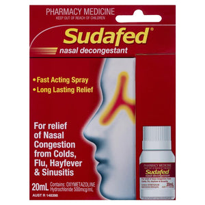 Sudafed Nasal Decongestant spray pump refill 20mL