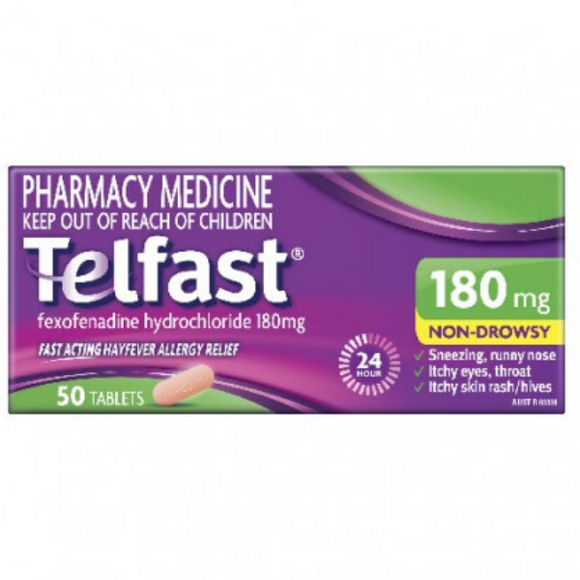 Telfast Hayfever & Allergy Relief 50 Tablets 180mg