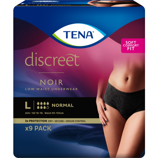 Tena Discreet Black Low Waist Underwear Large 9 pack