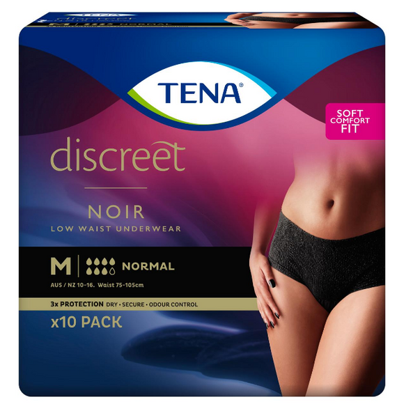 Tena Discreet Black Low Waist Underwear Medium 10 pack