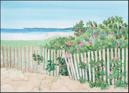 Beach, Roses and Fence Print