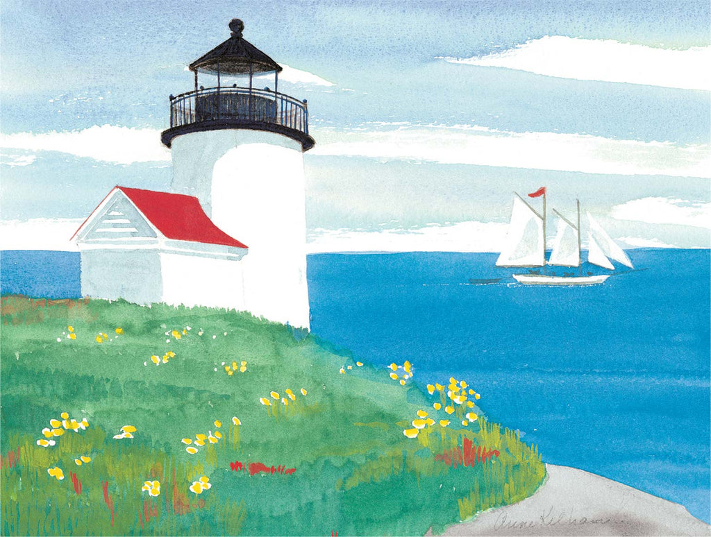Lighthouse and Schooner Print