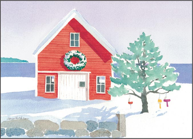 Barn with Wreath Print