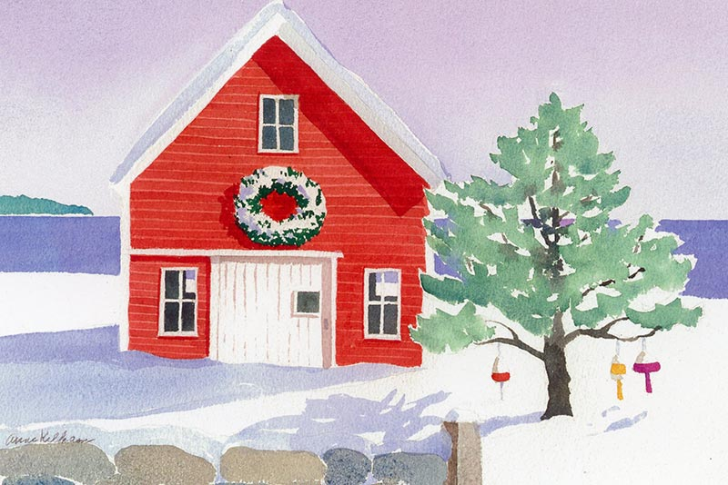 Barn with Wreath Note